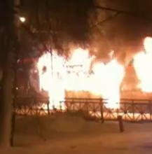 В центре Казани сгорел троллейбус