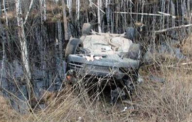 В Марий Эл в кювете перевернулся BMW Х5