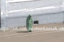 Соцсети: В Нижнекамске на улице солдат стоял в костюме и противогазе