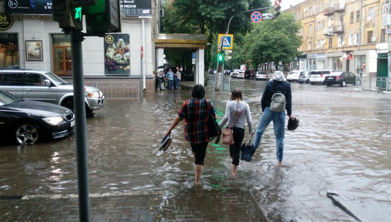 На Воронеж обрушились тропический ливень и сильный ветер (Видео)