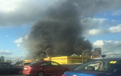 Пожар в коммерческом центре столицы