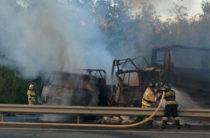 Страшное ДТП в Татарстане: Три фуры столкнулись и загорелись, погиб мужчина