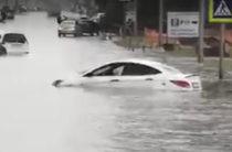 «Вода до окон». В Шереметьево затопило участок дороги (Видео)