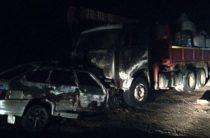 В Татарстане после столкновения сгорели ВАЗ и КАМАЗ