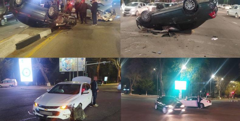 ФОТО: В Ташкенте столкнулись пять автомобилей, один перевернулся