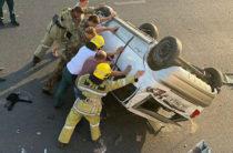 В Ташкенте водитель на «Матизе» упал вниз с путепровода вниз (Фото)