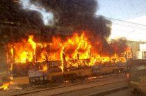 В Красноярске во время движения загорелся трамвай