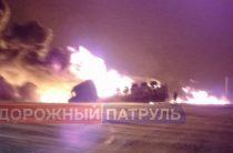 В Башкирии перевернулся и загорелся бензовоз
