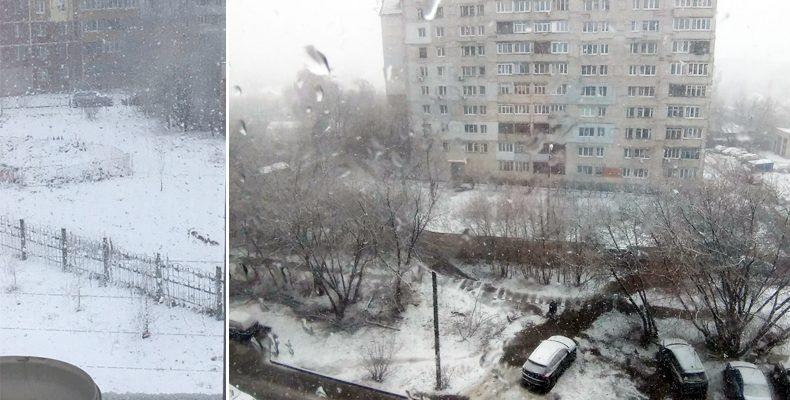 Нижний Новгород замело снегом в середине апреля