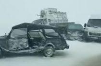 В Воронежской области столкнулись несколько грузовых и легковых автомобилей (Видео)